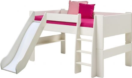 White or Pine Mid Sleeper with Slide